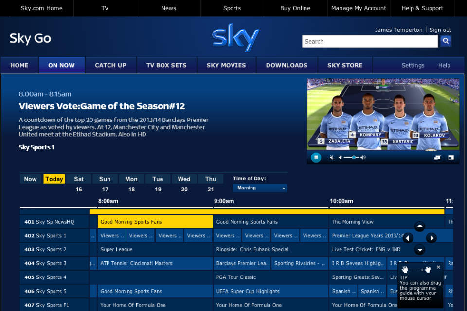 Tampilan aplikasi Sky Sports for iOS