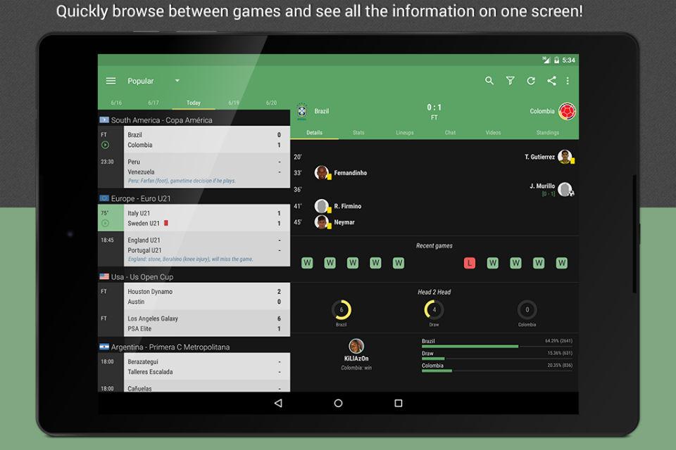 Tampilan aplikasi Live Score for iOS